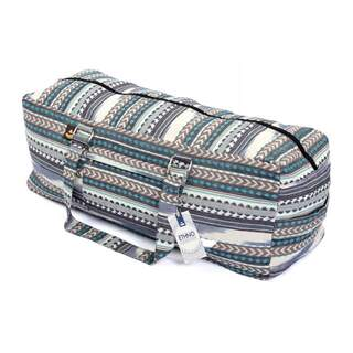 Yoga Kit taske | ETHNO Collection | sort-hvid-blå mønster Stor taske med lynlås | Ikat stof