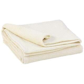 Vaffel-Piqué tæppe, bomulds ecru 200 x 150 cm