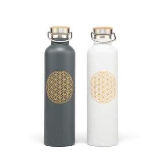 Rustfri stålisoleret flaske, 1L - Livets blomst, hvid med livets blomst